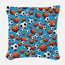 Basketball & Soccer Woven Throw Pillow