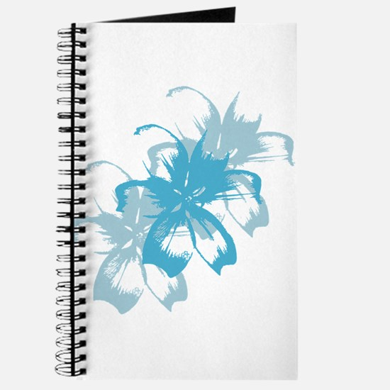 Aqua Blue Tropical Floral Journal