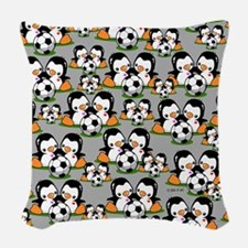 Soccer Penguins Woven Throw Pillow