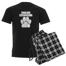 English Coonhound Distressed Paw Print Pajamas