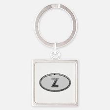 Z Metal Oval Square Keychain
