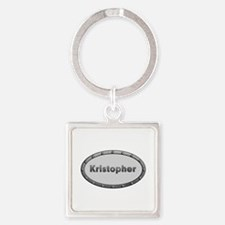 Kristopher Metal Oval Square Keychain