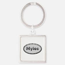 Myles Metal Oval Square Keychain