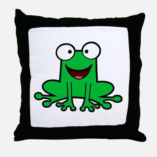 Happy Frog Throw Pillow