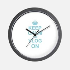 Keep Calm and Vlog on Wall Clock