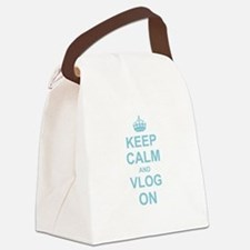 Keep Calm and Vlog on Canvas Lunch Bag