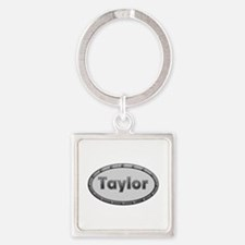 Taylor Metal Oval Square Keychain