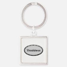 Thaddeus Metal Oval Square Keychain