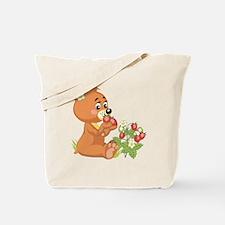 Teddy Bear Eating Strawberries Tote Bag