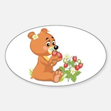 Teddy Bear Eating Strawberries Oval Decal
