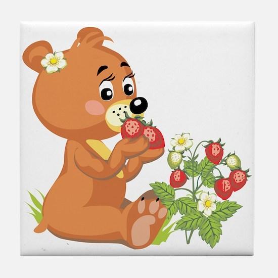 Teddy Bear Eating Strawberries Tile Coaster