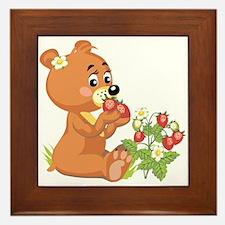 Teddy Bear Eating Strawberries Framed Tile