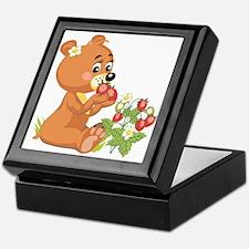 Teddy Bear Eating Strawberries Keepsake Box