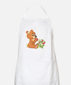 Teddy Bear Eating Strawberries BBQ Apron