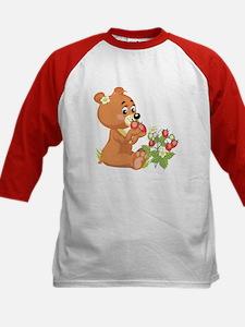 Teddy Bear Eating Strawberries Kids Baseball Jerse