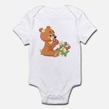 Teddy Bear Eating Strawberries Infant Bodysuit