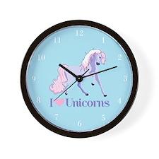 I Heart Unicorns Wall Clock