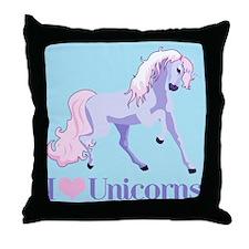I Heart Unicorns Throw Pillow