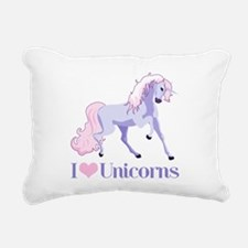 I Heart Unicorns Rectangular Canvas Pillow
