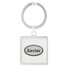 Xavier Metal Oval Square Keychain