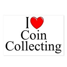 """""""I Love (Heart) Coin Collecting"""" Postcards (Packag"""