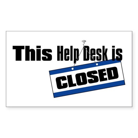 Help Desk Closed Rectangle Sticker