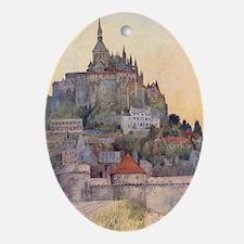 Vintage Mont St-Michel Oval Ornament