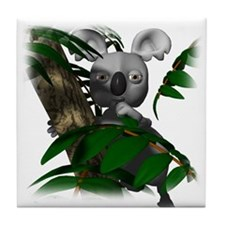 Koala Bear in Eucalyptus Tree Tile Coaster