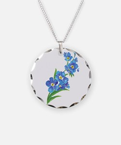 Forget Me Not Flower Watercolor Painting Necklace