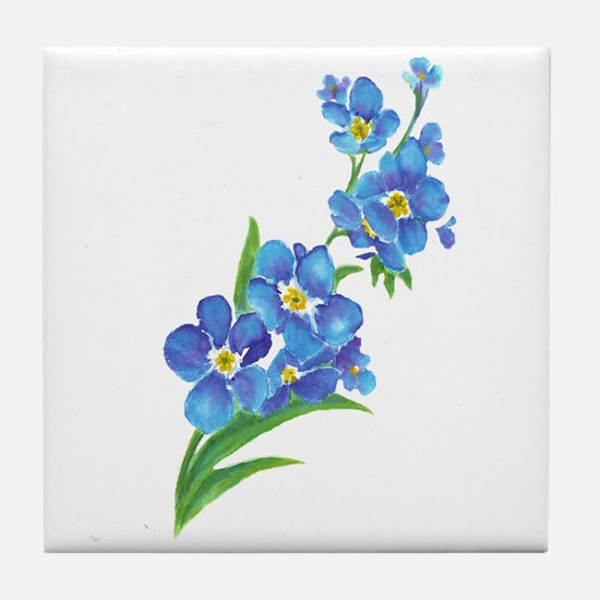Forget Me Not Flower Watercolor Painting Tile Coas