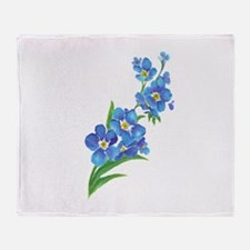 Forget Me Not Flower Watercolor Painting Throw Bla