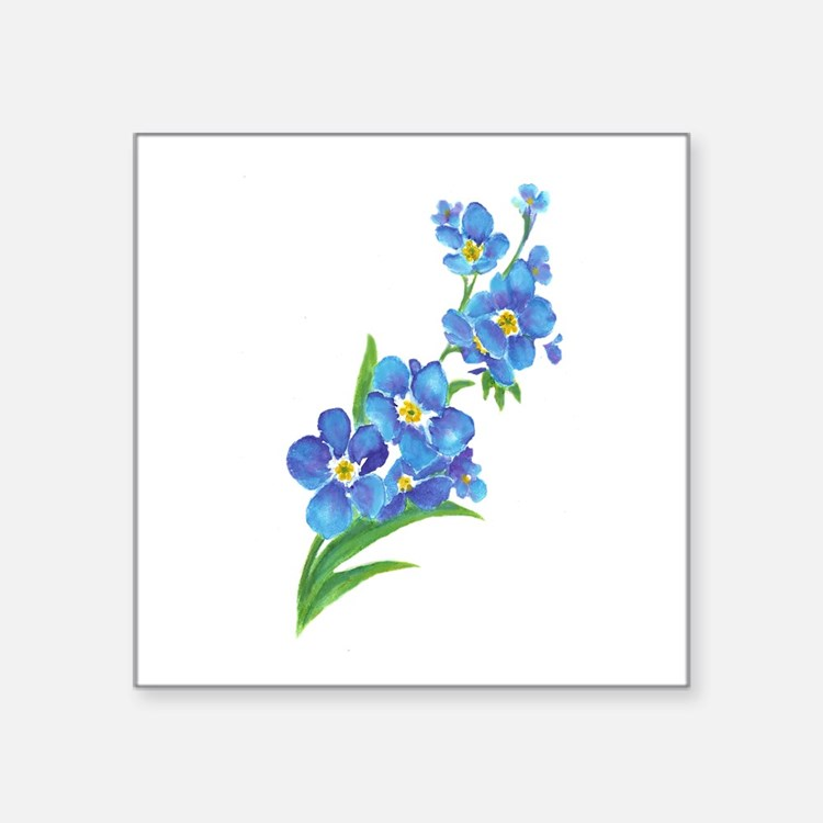 Forget Me Not Flower Watercolor Painting Sticker