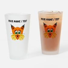 Custom Scared Cartoon Lynx Drinking Glass