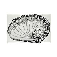 Abalone Seashell Black and White  Rectangle Magnet