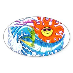 Surfing Iguana Oval Decal