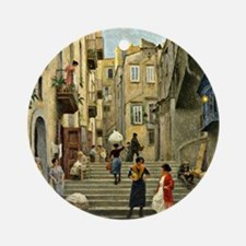 Naples Street Scene; Paul G. Fische Round Ornament