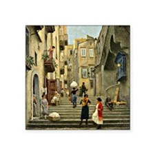 "Naples Street Scene; Paul G Square Sticker 3"" x 3"""