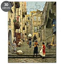Naples Street Scene; Paul G. Fischer painti Puzzle