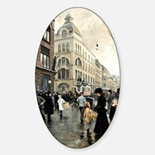 View of the Stroget, Copenhagen; Pa Sticker (Oval)