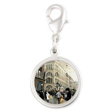 View of the Stroget, Copenhage Silver Round Charm
