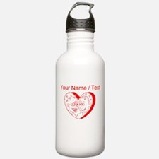 Custom Red Couple In A Heart Water Bottle