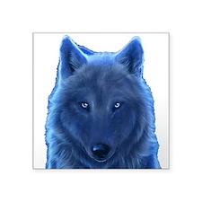 "Wolf Neon Blue Square Sticker 3"" X 3"""