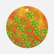 Green Flowers on Orange Ornament (Round)