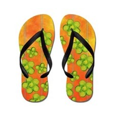 Green Flowers on Orange Flip Flops