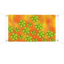 Green Flowers on Orange Banner