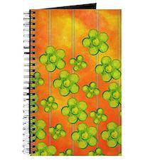 Green Flowers on Orange Journal