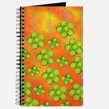 Green Flowers on Orange Journal