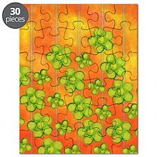 Green Flowers on Orange Puzzle