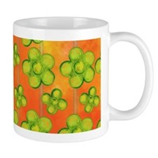 Green Flowers on Orange Mug