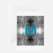 Teal Monogram Industrial Style Greeting Cards